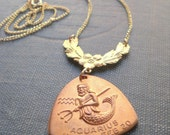 Aquarius Horoscope Zodiac Astrology Mermaid Merman Nautical Necklace