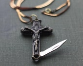 Crucifix Cross Pocket Knife Necklace Brass Religious Symbol