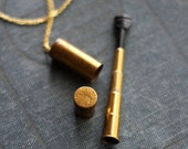Vintage 40's 50's Brass Scope Telescoping Cigarette Holder Canister Vial Necklace