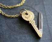 Key Shaped Brass Pocket Knife Necklace
