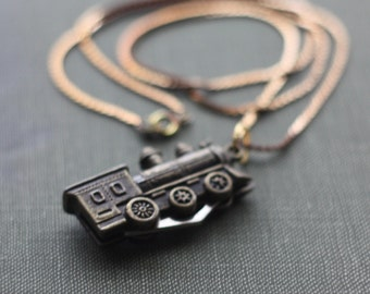 Pocket Knife Necklace Train Locomotive Conductor