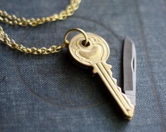 Key Shaped Brass Pocket Knife Necklace