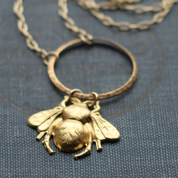 bumble bee brass honey ring necklace