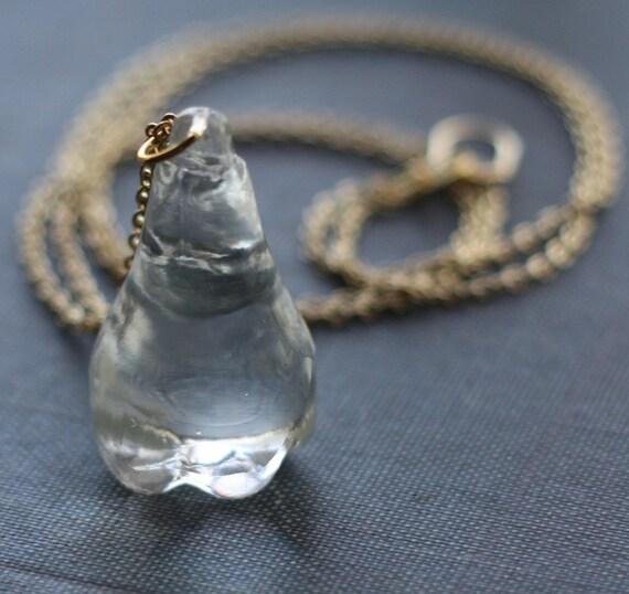 Vintage Glass Pear Fruit Long Necklace