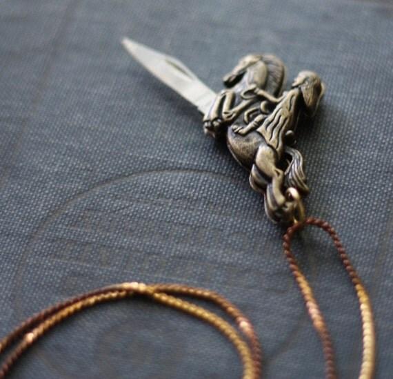 Pocket Knife Necklace Caped Lady Riding Hood Horse