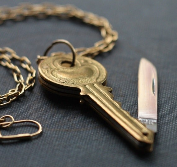 Brass Key Shaped Pocket Knife Necklace