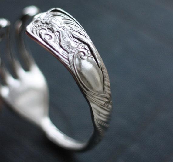 La Sirena - Antique Silverplate Siren Pattern Fork Bracelet