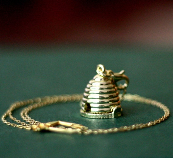 Honey Bee Hive Locket Necklace with Free Shipping