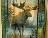 Moose wildlife cotton fabric block 35 x 44