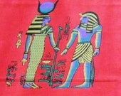 Egyptian God and Goddess hyroglyphic red cotton fabric 1 yard