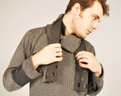 RESERVED FOR RICC Mens Herringbone Wool and Leather Sweater with Integral Scarf