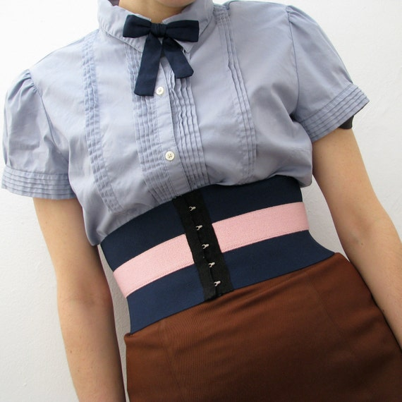 LAST ONE Lily Wide Corset Belt / Navy and Pink // Deadstock Vintage Elastic