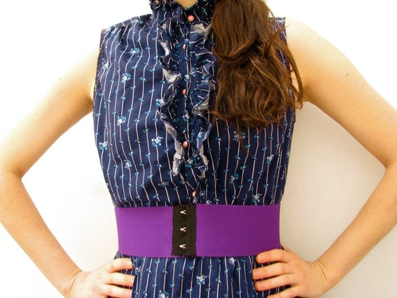 CUSTOM 3 Sophie Wide Corset Belt in Purple / Deadstock Vintage Elastic