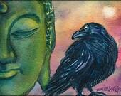 Buddha Crow Raven Sunset ACEO PRINT DW EVN