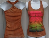 Caramel Brown tie dye ooak Neon Love long torso cotton knit racerback tank tee top - sz Sml