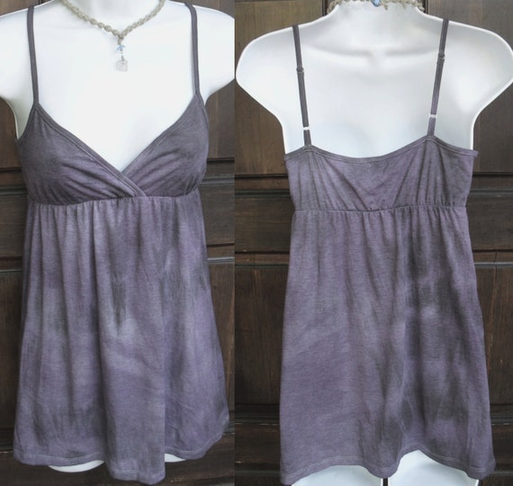 Lavender purple and Steel Gray Tie Dye tunic top sz Small with wrap Goddess empire bodice