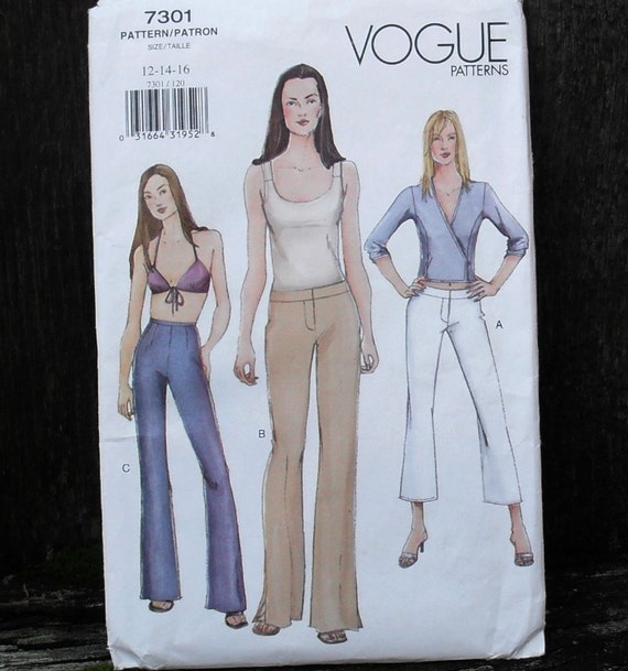 Vogue Pants Pattern 7301 - Misses boot cut Pants with back zipper and fly zipper variations SZ 12/14/16