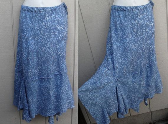 upcycled Blue batik rayon Skirt w/ assymetrical handkerchief hem / gypsy hippie