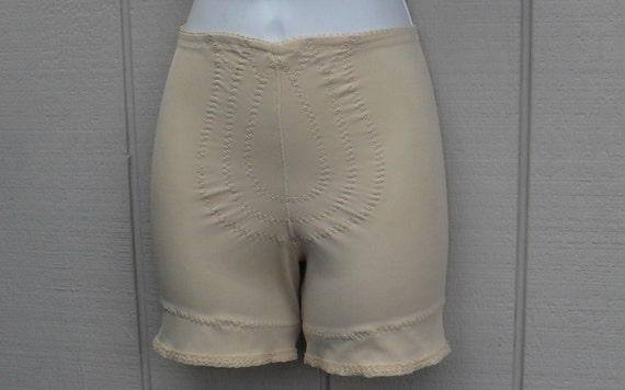 vintage 70s nude beige panty girdle with garter loops size medium foundation garment