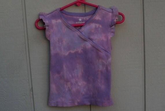 2T Toddler ooak Tie Dye Shirt Top in Lavender light purple shades bleach dip dyed