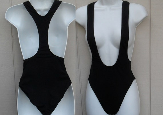 Vintage 80s Black Suspender Leotard / swimsuit with Racerback / Cotton with Spandex
