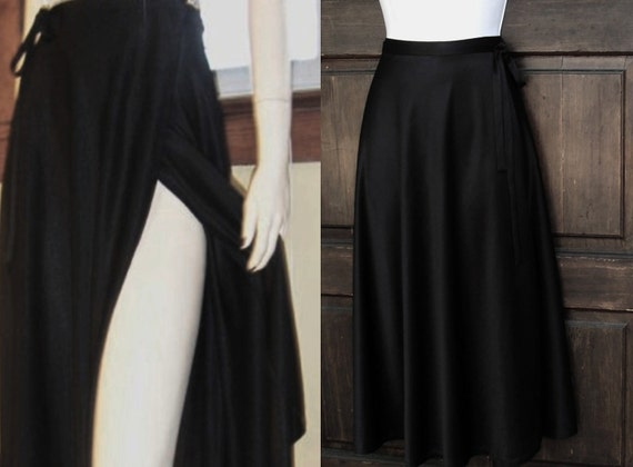 70s DISCO WRAP SKIRT Foxy Dancing Queen vintage Black Poly, sz small to med