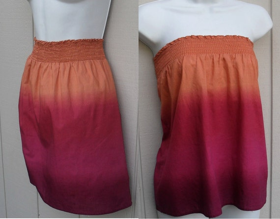 Ombre tie dye skirt or strapless babydoll tunic top