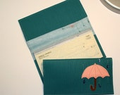 Umbrella Checkbook Cover - Teal