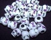 25 Lolita Skull Beads PINK Bows And Eyelashes