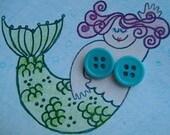 Pastel Blue Button Stud Earrings