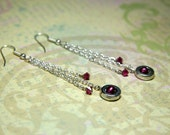 Fuscia and Silver Earrings