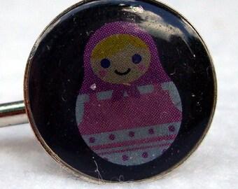 Purple and Pink Matryoshka Hair Pins Set, Russian Nesting Doll, Babushka