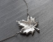 Silver Maple Leaf Necklace - Sterling Silver Maple Leaf Charm - Maple Necklace - Leaf Necklace - Leaf Pendant - Canada Necklace
