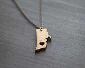 Tiny Rhode Island State Necklace - Bamboo - Rhode Island Necklace I heart Rhode Island State Pendant Rhode Island Map State Map Jewelry