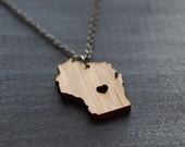 Wood Wisconsin Necklace - Bamboo - Wisconsin State Necklace Personalized Wisconsin Necklace Map Jewelry State Map State Heart