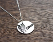 Silver Owl Necklace - Hooo - Small Owl Charm - Owl Jewelry - Owl Pendant - Silver Owl Necklace