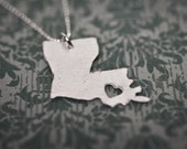 i heart Louisiana State Necklace - Silver Louisiana Necklace Custom State Love Necklace I Love Louisiana Personalized Heart Charm