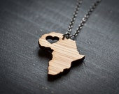 Africa Necklace - Bamboo Africa Country Neckalce African Pendant African Necklace Continent Pendant Africa Map Jewelry African Love
