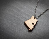 Missouri Necklace - Bamboo - MIssouri State Necklace Wooden State Charm MO Tiny State Love Necklace Personalized