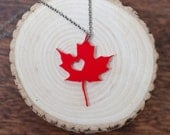 i heart Canada Red Acrylic I heart Canada Bamboo - British Columbia Necklace Love Canada Necklace BC Necklace Bamboo Necklace Charm Necklace