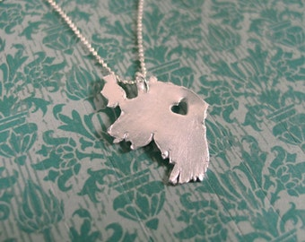 Ireland Necklace I heart Ireland necklace, Irish silver Ireland map pendant, jewelry, gift, made to order country necklace hometown