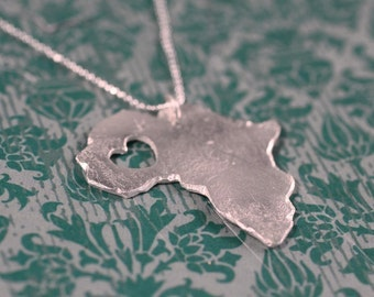 i heart Africa Necklace - Silver - Africa Necklace Africa Country Necklace Africa Map of Africa African Jewelry