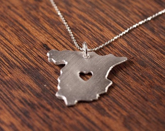 I heart Spain Necklace - Fine Silver Necklace - I Heart Spain - Map Necklace - I love Spain - Double Thickness