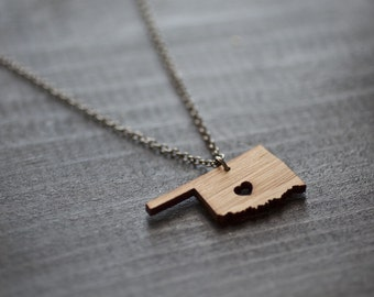 Oklahoma Necklace - Bamboo - Oklahoma State Necklace OK State Charm Pendant Wooden State Shaped Necklace Oklahoma State Necklace With Heart