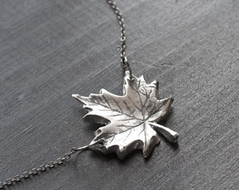 Maple leaf jewelry etsy silver maple leaf necklace sterling silver maple leaf charm maple necklace leaf necklace aloadofball Image collections