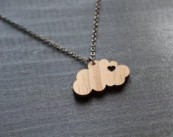 I heart clouds - Cloud Necklace - Sterling Silver Chain - Cloud Charm Necklace - Simple & Modern Necklace - Gift Necklace - Bamboo Necklace
