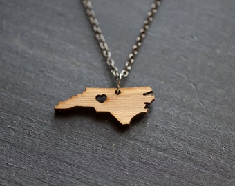 North Carolina State Necklace - Bamboo - North Carolina Necklace NC Love Necklace State Jewelry NC Personalized Necklace Wooden Necklace