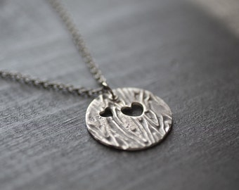 Silver Wood Grain Necklace, Tree Bark Necklace, Woodland Jewelry, Faux Bois Necklace, Tree Jewelry, Wood Grain Jewelry, Hand Stamped