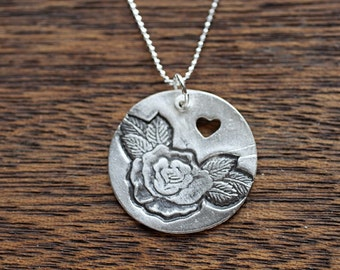 Rosebud Necklace - Silver Rose Necklace - Rose Pendant - Anniversary Gift, Bridesmaid Jewelry, Gift for Her