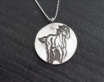 horse jewelry - gallop necklace - horse necklace - i love horses necklace - horse charm - horse pendant - sterling silver horse necklace